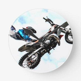 motorcycle biker acrobatic sport racing round clock