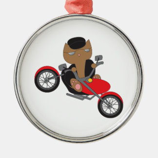 Motorcycle Biker Cat Metal Ornament