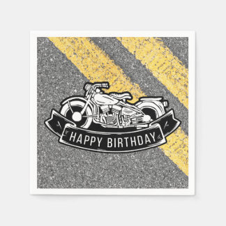 Motorcycle Biker Happy Birthday Party Serving Paper Napkins