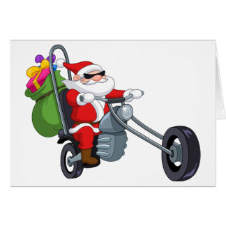 motorcycle biker santa claus card