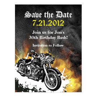 Motorcycle Biker Save the Date Postcard