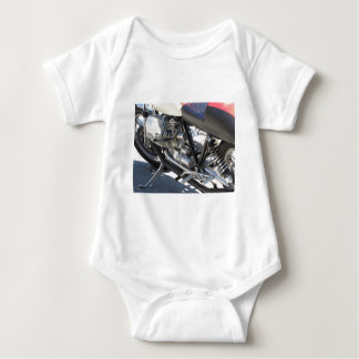 Motorcycle chromed engine closeup detail Side view Baby Bodysuit