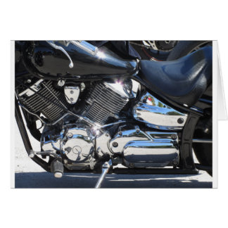 Motorcycle chromed engine closeup detail Side view Card