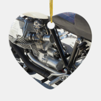 Motorcycle chromed engine closeup detail Side view Ceramic Heart Decoration