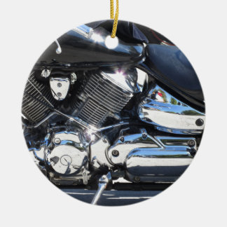 Motorcycle chromed engine closeup detail Side view Ceramic Ornament