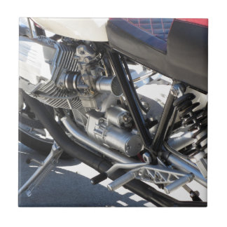 Motorcycle chromed engine closeup detail Side view Ceramic Tile