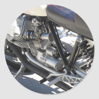 Motorcycle chromed engine closeup detail Side view Classic Round Sticker