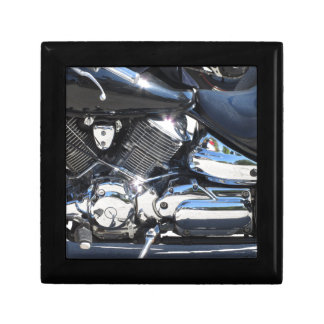 Motorcycle chromed engine closeup detail Side view Gift Box