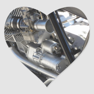 Motorcycle chromed engine closeup detail Side view Heart Sticker