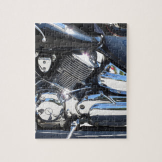 Motorcycle chromed engine closeup detail Side view Jigsaw Puzzle
