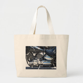 Motorcycle chromed engine closeup detail Side view Large Tote Bag