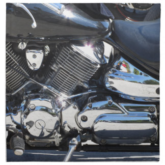Motorcycle chromed engine closeup detail Side view Napkin