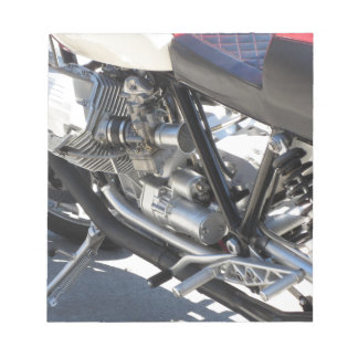 Motorcycle chromed engine closeup detail Side view Notepad