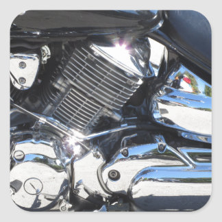 Motorcycle chromed engine closeup detail Side view Square Sticker