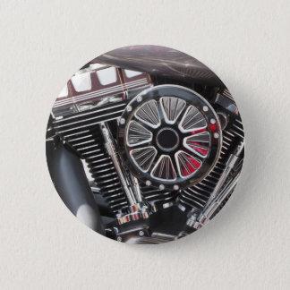 Motorcycle chromed engine detail background 6 cm round badge