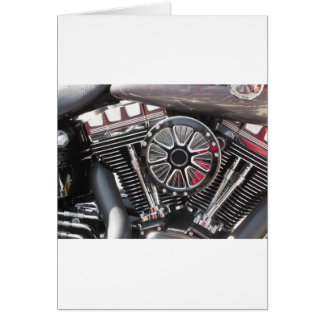 Motorcycle chromed engine detail background card