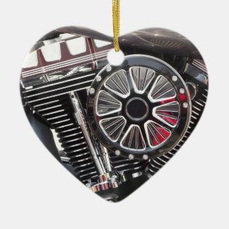 Motorcycle chromed engine detail background ceramic heart decoration