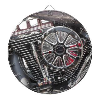 Motorcycle chromed engine detail background dartboard