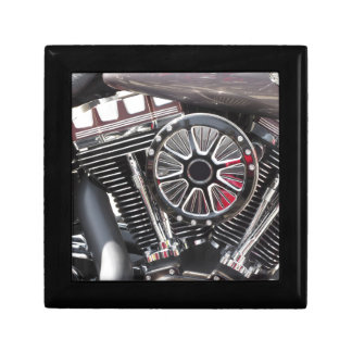 Motorcycle chromed engine detail background gift box