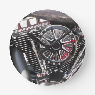 Motorcycle chromed engine detail background round clock