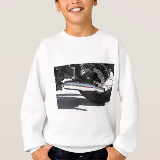 Motorcycle chromed exhaust pipe . Side view Sweatshirt
