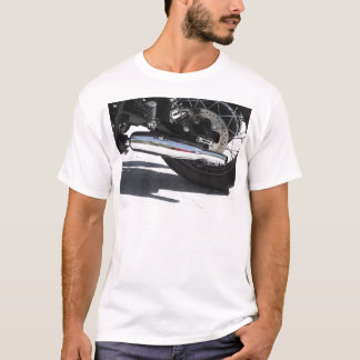Motorcycle chromed exhaust pipe . Side view T-Shirt