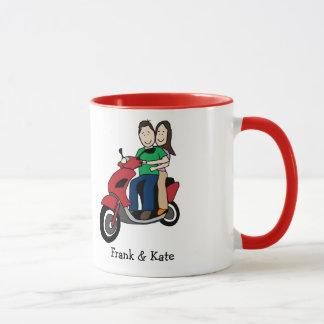 Motorcycle couple- personalized cartoon mug