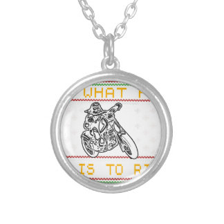 motorcycle design cut silver plated necklace