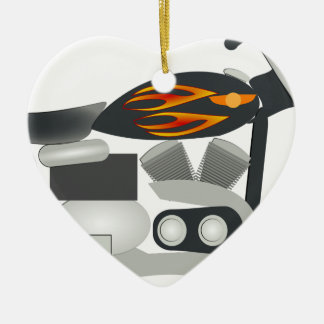 Motorcycle Drawing Ceramic Ornament