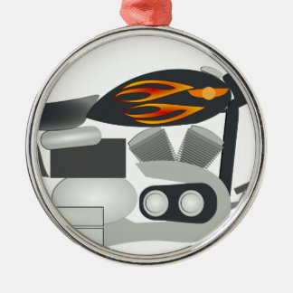 Motorcycle Drawing Metal Ornament