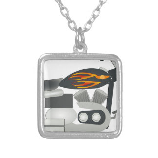 Motorcycle Drawing Silver Plated Necklace