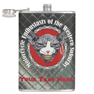 Motorcycle Enthusiasts Leather Look Flask