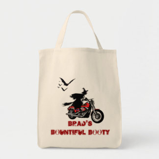Motorcycle halloween witch & bats tote bags