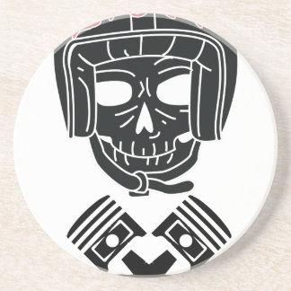 Motorcycle Helmet Skull 1%er Beverage Coaster