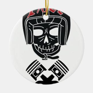 Motorcycle Helmet Skull 1%er Ceramic Ornament