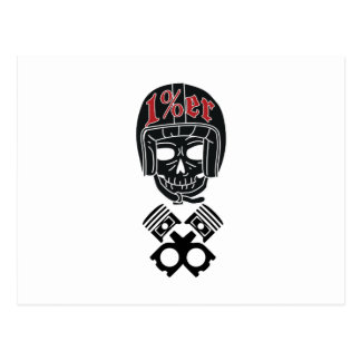 Motorcycle Helmet Skull 1%er Postcard