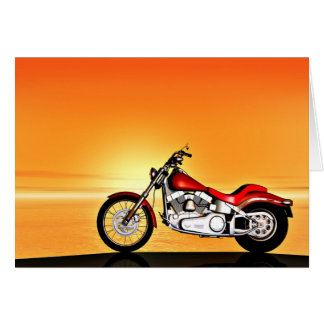 Motorcycle in the sunset. card