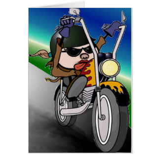 Motorcycle Lady Card