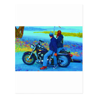 Motorcycle Lovers on the Beacg Postcards