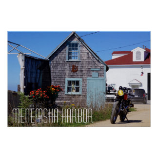 Motorcycle Menemsha harbor Martha's Vineyard Poster