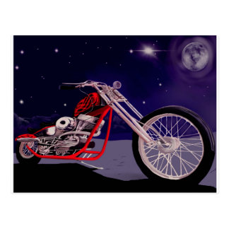 Motorcycle Moonlight Art Postcard