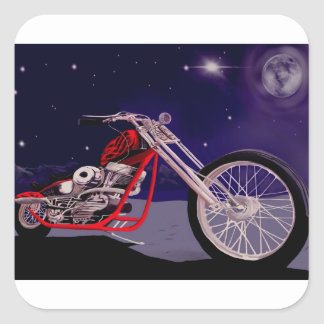 Motorcycle Moonlight Art Square Sticker