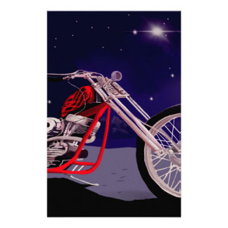Motorcycle Moonlight Art Stationery
