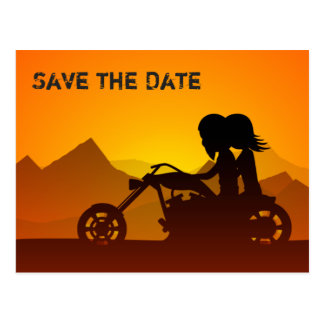 Motorcycle Mountains Save the Date Wedding Invite Postcard
