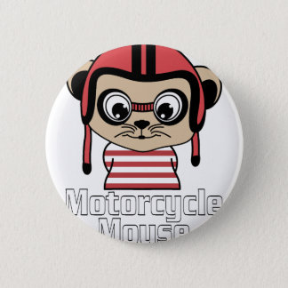 Motorcycle Mouse, rate cartoon vintage design 6 Cm Round Badge