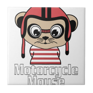 Motorcycle Mouse, rate cartoon vintage design Ceramic Tile