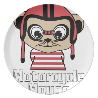 Motorcycle Mouse, rate cartoon vintage design Plate
