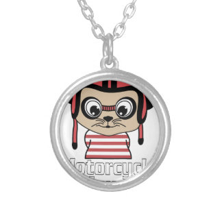 Motorcycle Mouse, rate cartoon vintage design Silver Plated Necklace