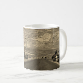 Motorcycle On Road Through Arches National Park Coffee Mug