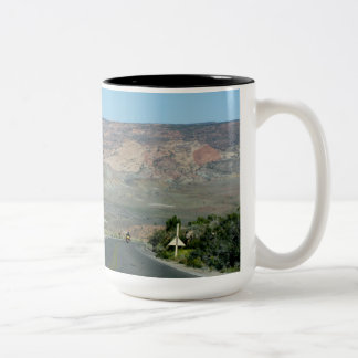 Motorcycle On Road Through Arches National Park Two-Tone Coffee Mug